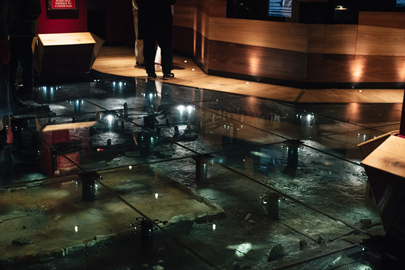 FAIIINT York weekend break. Jorvik Viking Centre glass floor over 1,000 year old remains of Viking houses in Coppergate.