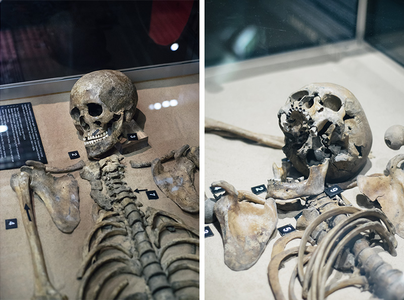 FAIIINT York weekend break. Jorvik Viking Centre skeletons.