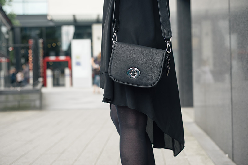 FAIIINT details, Marc B Baby Bianca bag in black with New Look asymmetric dress.