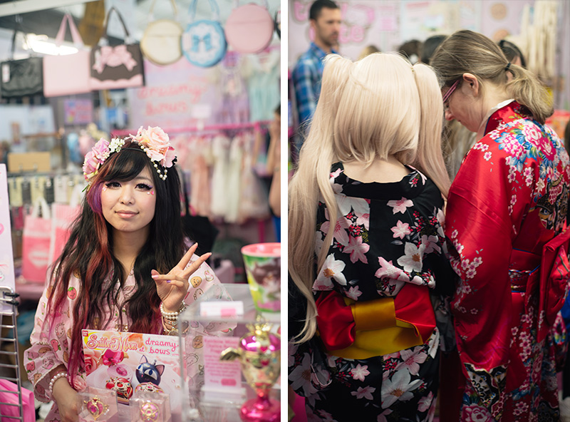 FAIIINT Hyper Japan Festival 2015 at The o2 London. Dreamy Bows stall pretty pastel japanese fashion, visitors wearing traditional kimono.