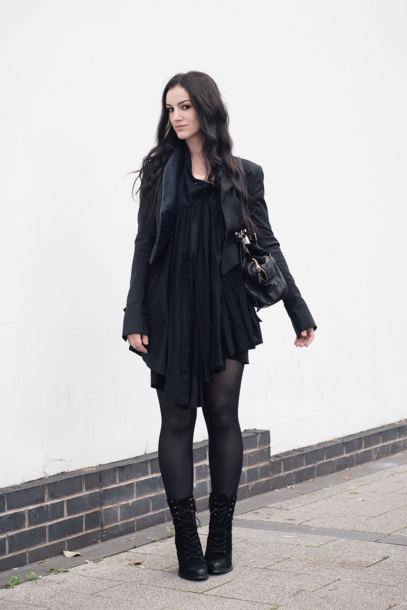 Fashion blogger Stephanie of FAIIINT wearing Todd Lynn x Topshop tux jacket, AllSaints Agena draped dress, Mulberry Mabel bag large, A Weathered Penny Geo necklace and ring, Kurt Geiger Saturn boots. All black everything goth dark street style outfit.