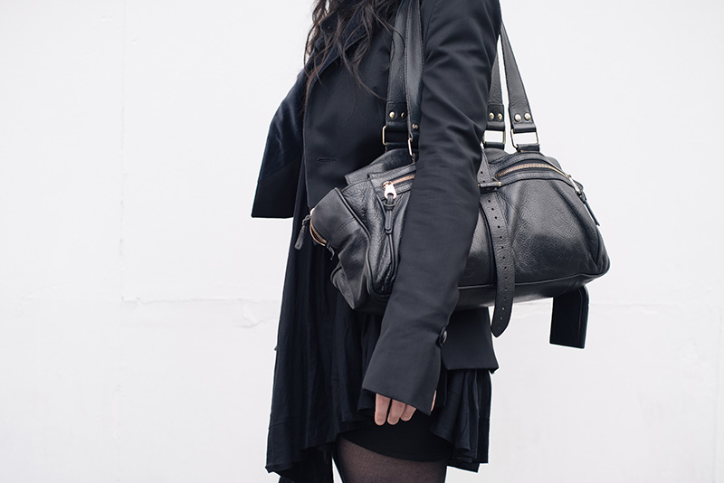 Fashion blogger Stephanie of FAIIINT wearing Todd Lynn x Topshop tux jacket, AllSaints Agena draped dress, Mulberry Mabel large black handbag. All black everything goth dark street style outfit.