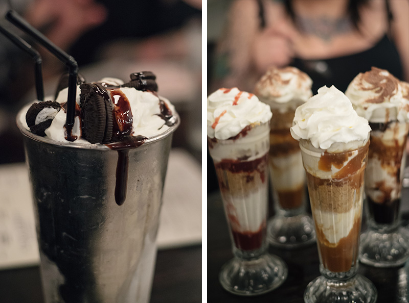 FAIIINT Handmade Burger Co at Highcross Leicester. Oreo Shake and Banoffee Pie, Strawberry Cheesecake, Brownie and Waffle sundaes.