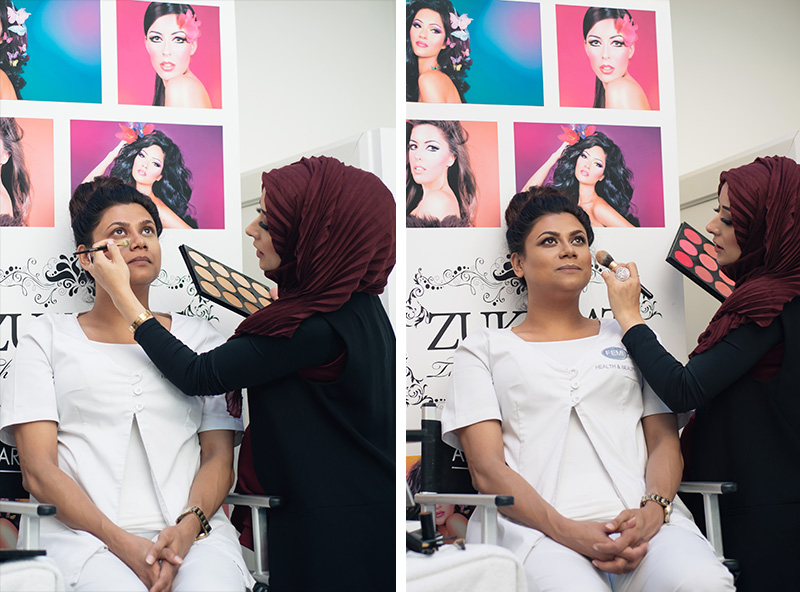 Artist of Makeup by Zukreat at Femi Health & Beauty salon Leicester. Demonstration of products by Zukreat before and after.