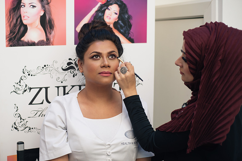 Artist of Makeup by Zukreat at Femi Health & Beauty salon Leicester. Demonstration by Zukreat of products.