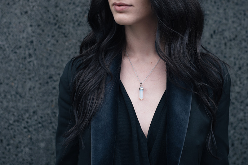 FAIIINT wearing Happiness Boutique opal crystal necklace. Outfit details.
