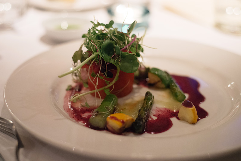 Fine Dine on a Diet at The White Peacock in Leicester. Red pepper pannacotta with grilled asparagus, courgette, cherry tomato sala and micro cress.