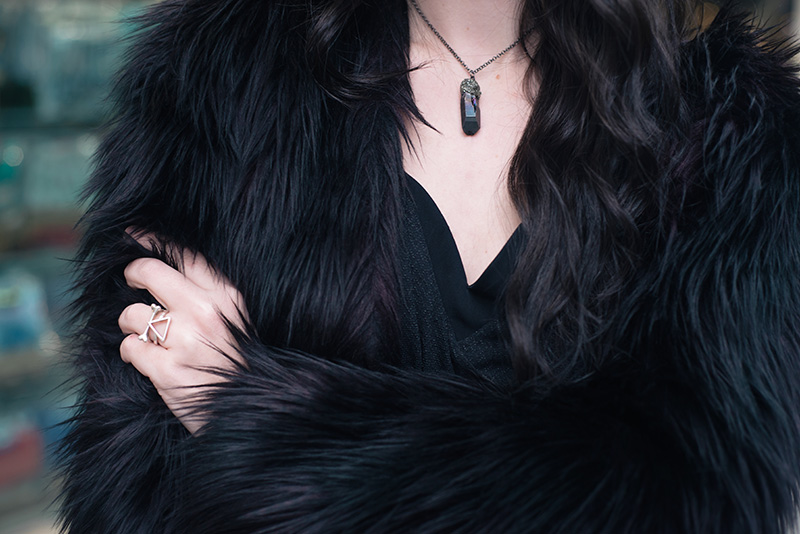 Fashion blogger Stephanie of FAIIINT wearing H&M black purple faux fur jacket, Elemental Luxury titanium quartz raw crystal necklace, Bloody Mary Metal silver lonely bone and fire alchemy rings. Outfit details.