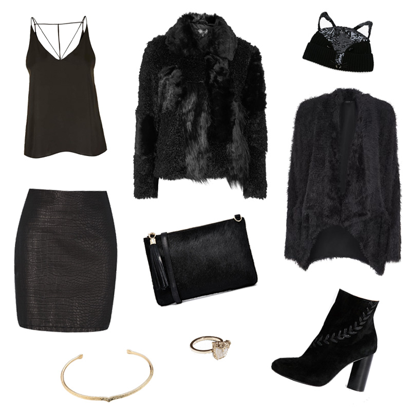 FAIIINT Topshop cami & patchwork faux fur jacket, Religion 'Power' cardiagan, Markus Lupfer fox face ear beanie hat, Warehouse snake textured skirt, Urbancode ponyhair clutch, Senso laced up 'sara' suede boots, & Other Stories rock ring, Aurélie Bidermann choker. All black everything goth winter wishlist.