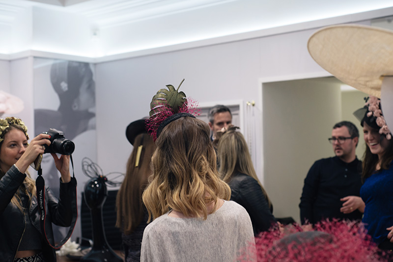 FAIIINT Milliner William Chambers hat shop in Glasgow. Bloggers trying on hats.
