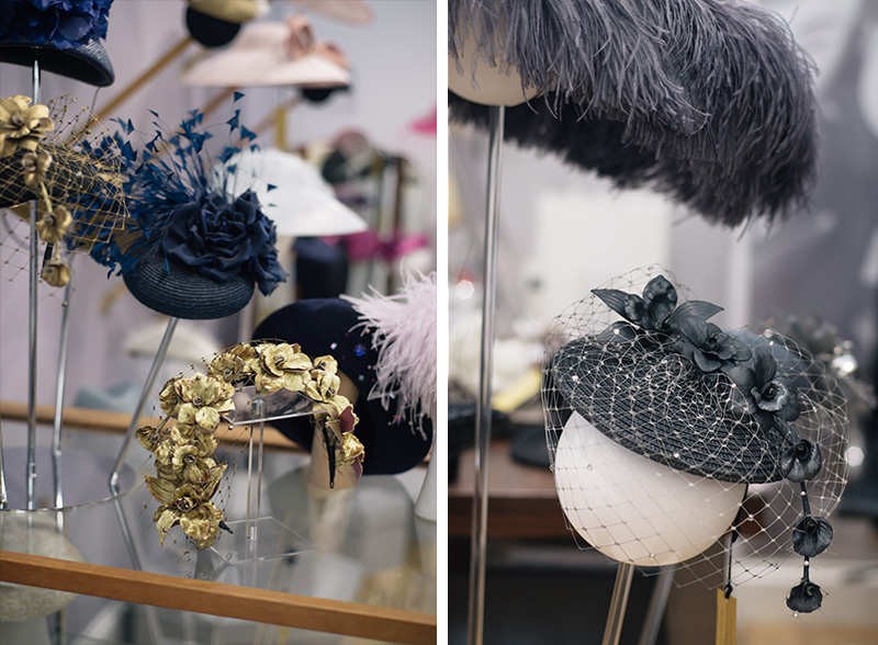 FAIIINT Milliner William Chambers hat shop in Glasgow. Gold, silver, grey and navy blue flowers wedding hats.
