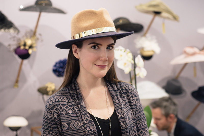 FAIIINT Milliner William Chambers hat shop in Glasgow. Tara of The Style Rawr trying on a colour block fedora.