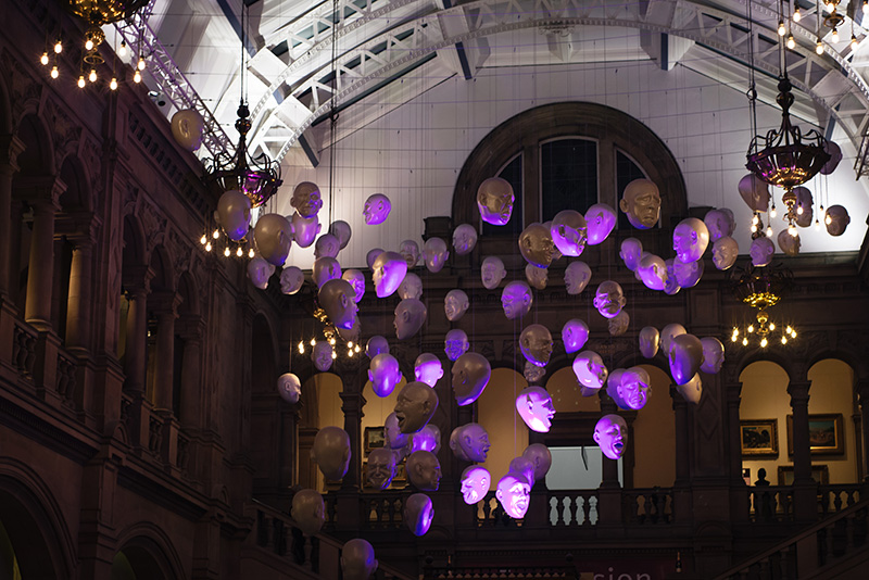 FAIIINT Scottish Style Awards 2015 at Kelvingrove art gallery and museum in Glasgow. Sophie Cave Floating Heads installation.