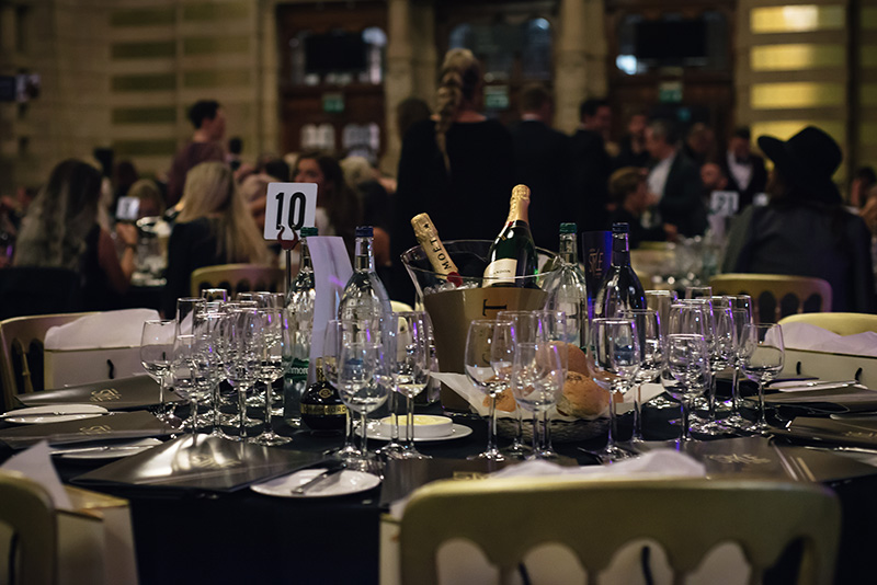 FAIIINT Scottish Style Awards 2015 at Kelvingrove art gallery and museum in Glasgow. Tables with Moet and Chambord.