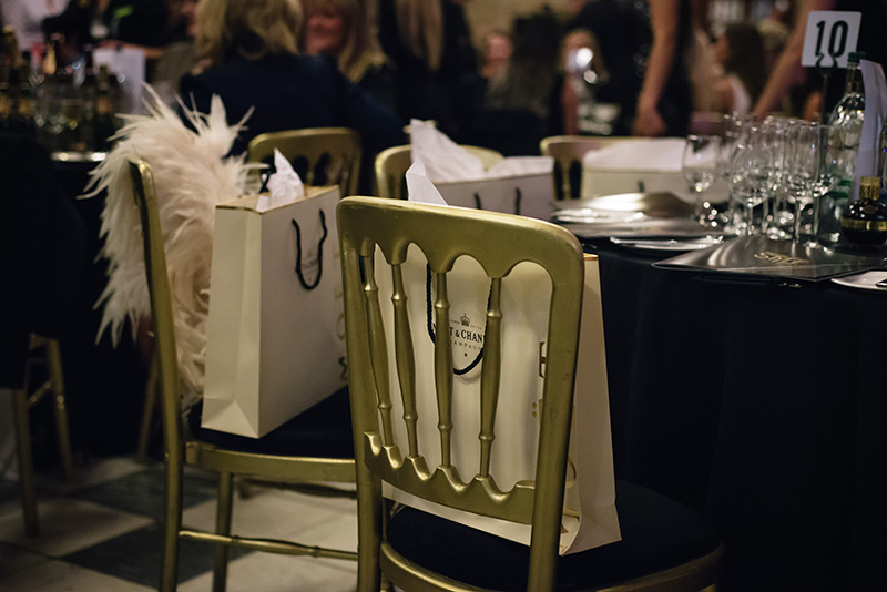 FAIIINT Scottish Style Awards 2015 at Kelvingrove art gallery and museum in Glasgow. Tables and chairs with gift bags.