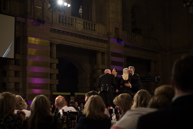 FAIIINT Scottish Style Awards 2015 at Kelvingrove art gallery and museum in Glasgow. Winners Hutchesons collect their award.