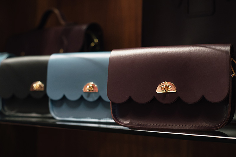 FAIIINT Glasgow Cambridge Satchel Company cloud scalloped edge small bags. Plum, pale blue, Black.