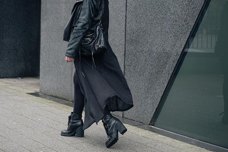 Fashion blogger Stephanie of FAIIINT wearing ASOS faux fur and leather biker jacket, H&M draped maxi cardigan, ASH Poker boots, Balenciaga city bag. Outfit details.