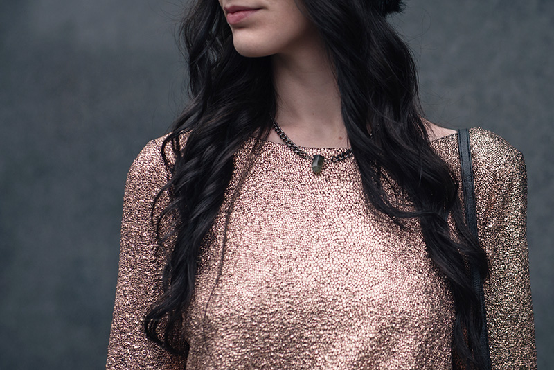 Fashion blogger Stephanie of FAIIINT wearing F&F at Tesco gold foil metallic dress, Regal Rose labradorite choker necklace. Outfit details.