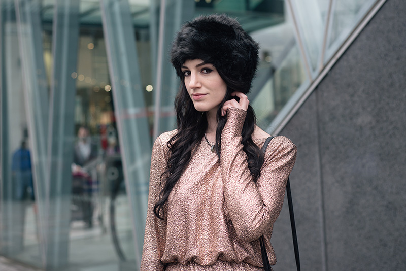 Fashion blogger Stephanie of FAIIINT wearing F&F at Tesco gold foil metallic dress, black faux fur Russian hat, Regal Rose labradorite choker. Dark street style christmas party winter outfit.