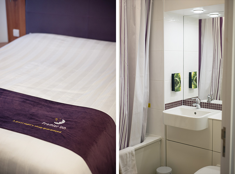 Premier Inn London Southwark kingsize bed, bathroom.