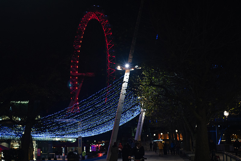FAIIINT London Eye and Southbank lights at night.