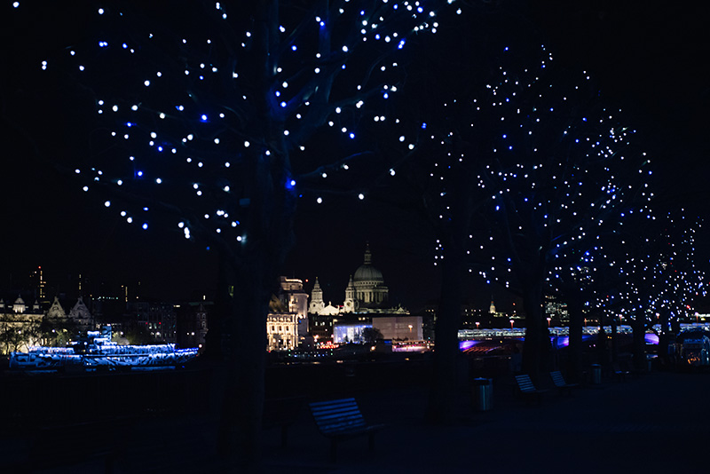 FAIIINT Southbank London fairy lights trees night.