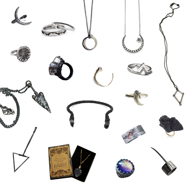 FAIIINT independent jewellery designers wishlist. Silver, black, dark style.