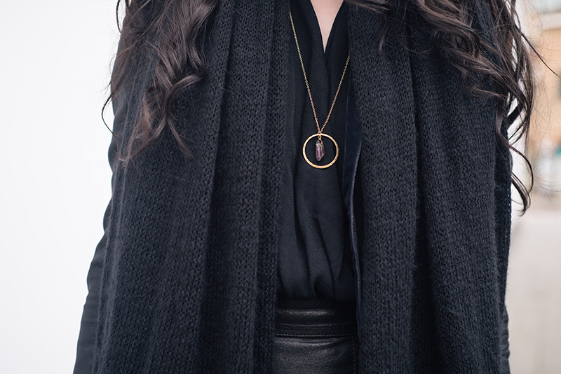 Fashion blogger Stephanie of FAIIINT wearing ASOS scarf, Todd Lyn x Topshop tux jacket, River Island drape blouse, Young Hearts mystic raw black quartz necklace in gold brass circle. Outfit details.