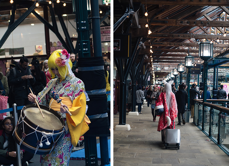 Hyper Japan Christmas Market 2015 at Tobacco Dock London. Traditional Japanese music and cosplay.
