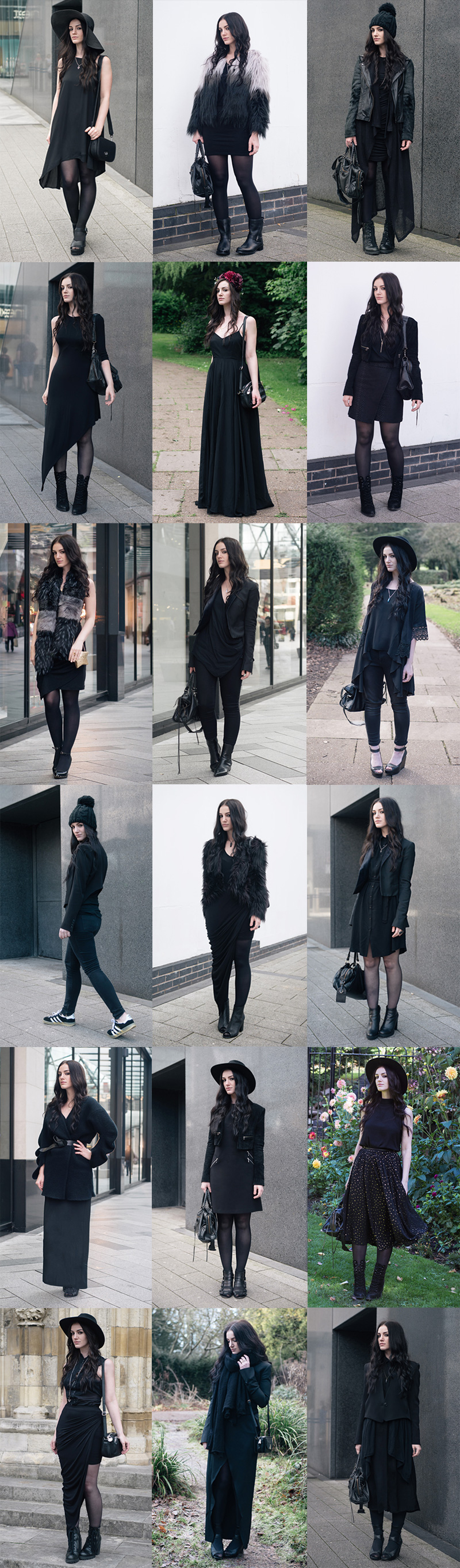 Fashion blogger Stephanie of FAIIINT all black everything best of 2015 dark goth street style outfits compilation.