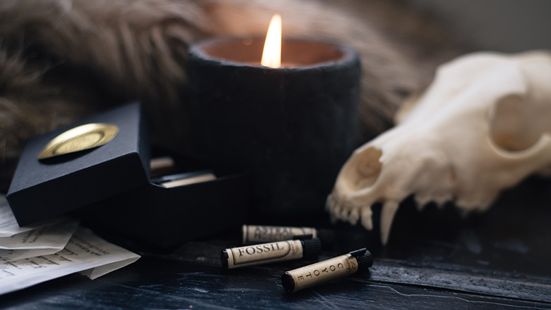 FAIIINT x For Strange Women natural botanical perfume oil sample vials coyote, fossil and astral projection in still life with coyote skull, faux fur and candle.