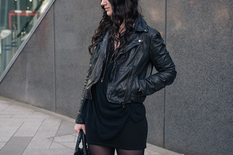 Fashion blogger Stephanie of FAIIINT wearing MuuBaa leather biker jacket, River Island drape top, ASOS mini skirt, Hvnter Gvtherer lacustrine necklace. Casual all black everything dark street style outfit details.