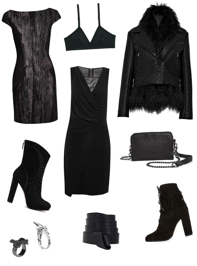 FAIIINT Wishlist, Topshop unique Mayall velvet dress, & other stories triangle bra, French Connection faux leather and fur jacket, Reiss Dunaway suede boots, French Connection Mona dress, Liebeskind bag, Estelle Deve rings, Boohoo knot detail belt, River Island fringed ankle boots.