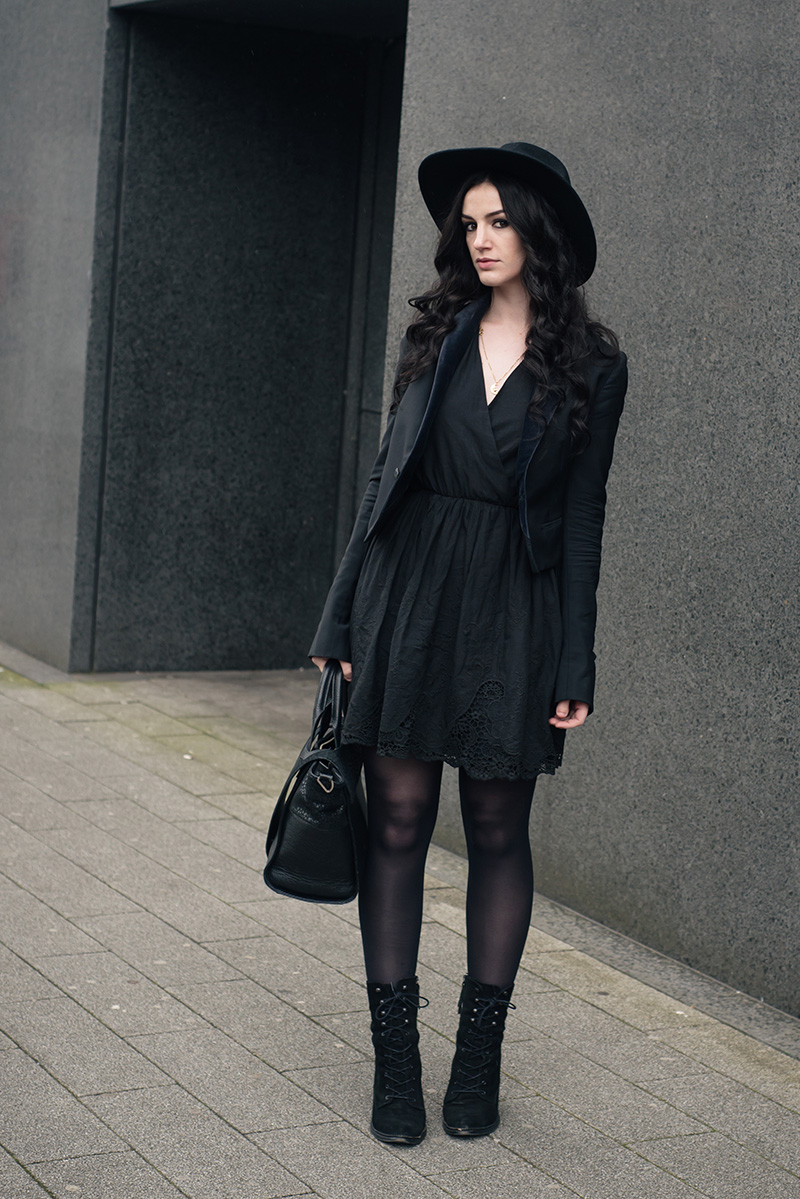 Fashion blogger Stephanie of FAIIINT wearing Catarzi fedora, Todd Lynn x Topshop tux jacket, Lavand lace hem dress, Kurt Geiger Saturn boots. All black everything dark style outfit.