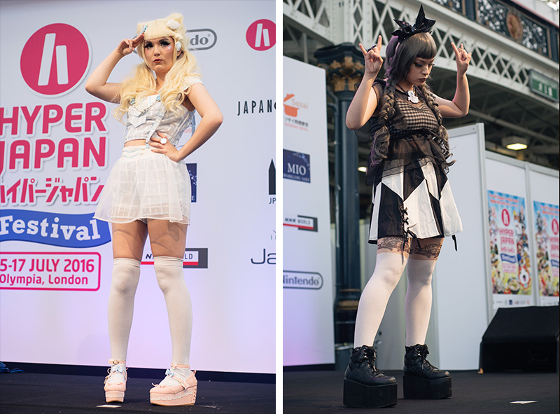 Hyper Japan festival 2016 Kensington Olympia. Kawaii cute and gothic lolita outfits at the fashion show.