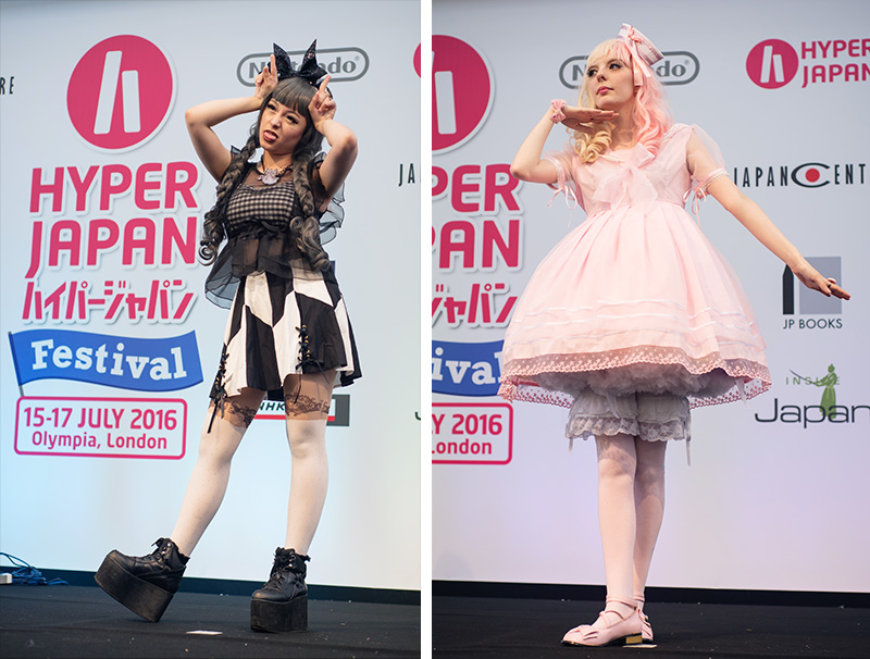 Hyper Japan festival 2016 Kensington Olympia. Kawaii cute lolita and gothic outfits at the fashion show.
