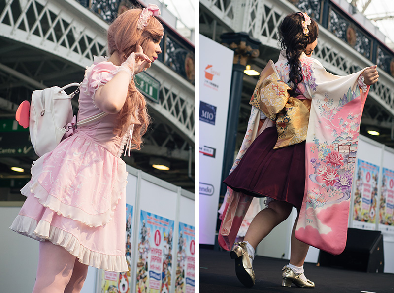 Hyper Japan festival 2016 Kensington Olympia. Kawaii cute and traditional japanese dress kimono at the fashion show.