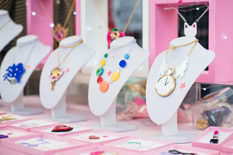 Hyper Japan festival 2016 Kensington Olympia. Kawaii cute perspex wonderland and solar system jewellery from Little Moose.
