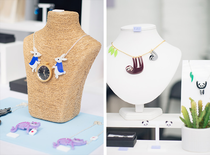 Hyper Japan festival 2016 Kensington Olympia. Kawaii cute perspex alice in wonderland and sloth jewellery from Little Moose.