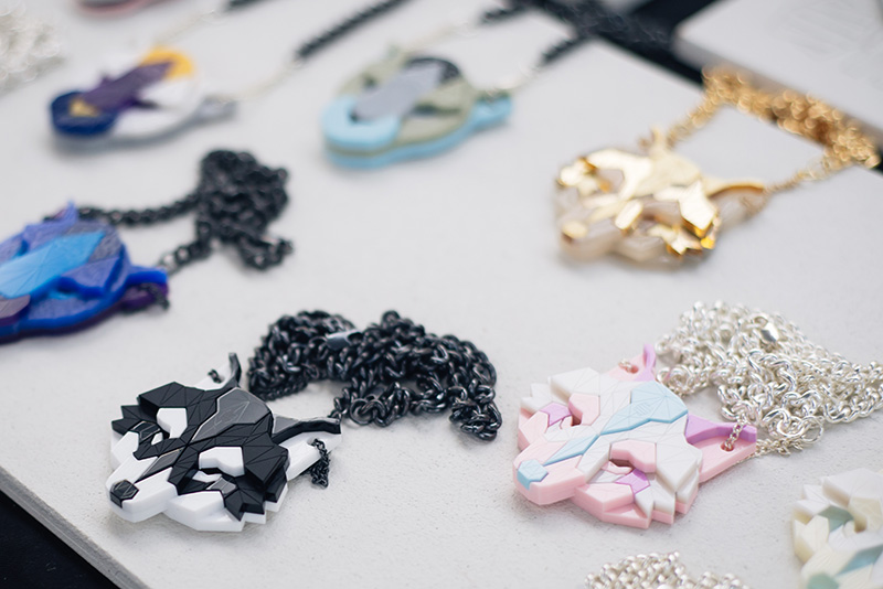 Hyper Japan festival 2016 Kensington Olympia. Geometric wolf head perspex necklaces from SSTUTTER.