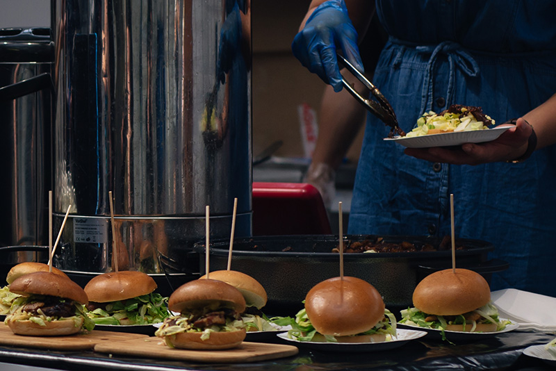 Hyper Japan festival 2016 Kensington Olympia. Food stalls mini burgers.