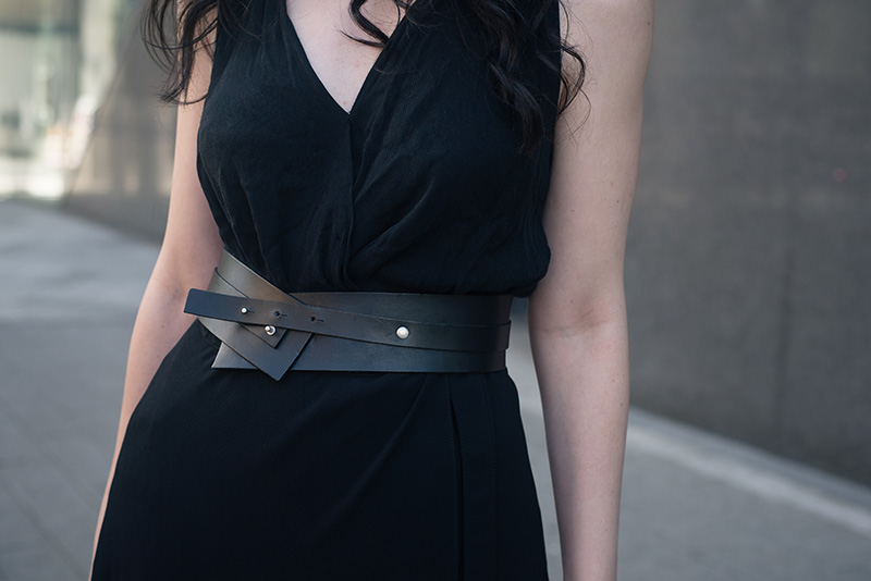 Fashion blogger Stephanie of FAIIINT wearing Pieces leather wrap belt. Outfit details.