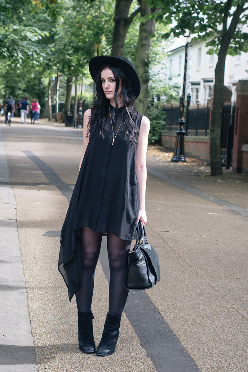 Fashion blogger Stephanie of FAIIINT wearing Catarzi wide brim fedora hat, H&M asymmetric chiffon shirt dress, H&M suede boots. All black everything goth dark street style outfit.