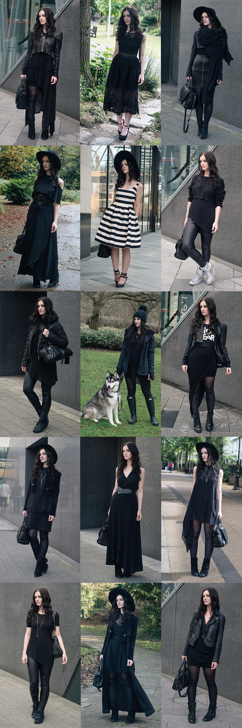 Fashion blogger Stephanie of FAIIINT all black everything dark street style goth best outfits of 2016 compilation.
