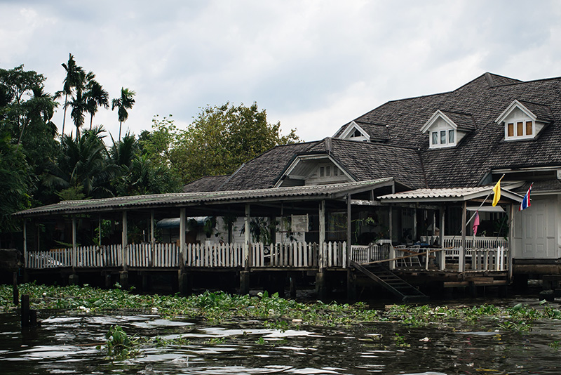 Bangkok Thailand wooden house on the Chao Phraya River.