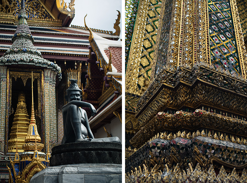Temples of Bangkok Thailand, The Grand Palace and Wat Phra Kaew, glittering gold mosaic tiles.