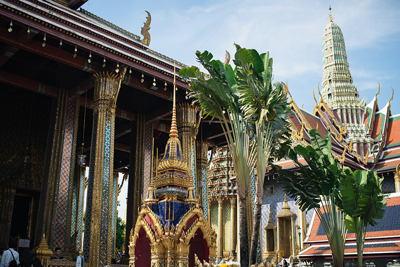 Temples of Bangkok Thailand, The Grand Palace and Wat Phra Kaew, glittering gold.