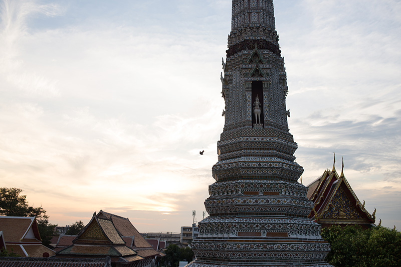 Temples of Bangkok Thailand, Wat Arun the Temple of Dawn at dusk.