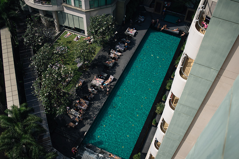 Anantara Sathorn Bangkok hotel Thailand pool area view from balcony.
